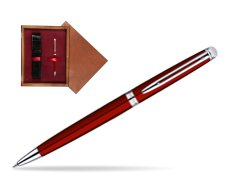 Waterman Hémisphère Red CT Ballpoint Pen in single wooden box Mahogany Single Maroon
