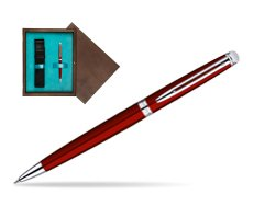 Waterman Hémisphère Red CT Ballpoint Pen in single wooden box  Wenge Single Turquoise