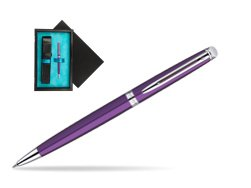 Waterman Hémisphère Purple CT Ballpoint Pen  single wooden box  Black Single Turquoise