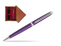 Waterman Hémisphère Purple CT Ballpoint Pen in single wooden box Mahogany Single Maroon