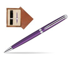 Waterman Hémisphère Purple CT Ballpoint Pen in single wooden box  Mahogany Single Ecru