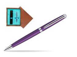 Waterman Hémisphère Purple CT Ballpoint Pen in single wooden box  Mahogany Single Turquoise