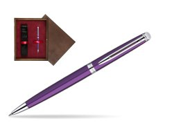 Waterman Hémisphère Purple CT Ballpoint Pen in single wooden box  Wenge Single Maroon