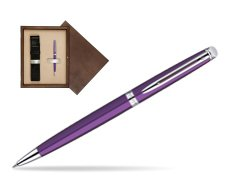 Waterman Hémisphère Purple CT Ballpoint Pen in single wooden box  Wenge Single Ecru