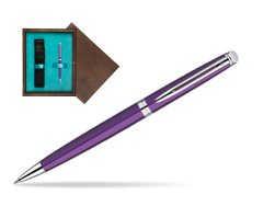Waterman Hémisphère Purple CT Ballpoint Pen in single wooden box  Wenge Single Turquoise