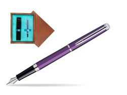 Waterman Hémisphère Rosewood CT Fountain Pen in single wooden box  Mahogany Single Turquoise