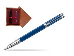 Waterman Perspective Blue Obsession CT Rollerball Pen in single wooden box Mahogany Single Maroon