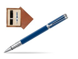 Waterman Perspective Blue Obsession CT Rollerball Pen in single wooden box  Mahogany Single Ecru