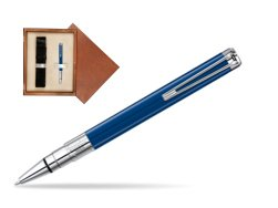 Waterman Perspective Blue Obsession CT Ball Point Pen in single wooden box  Mahogany Single Ecru