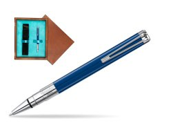 Waterman Perspective Blue Obsession CT Ball Point Pen in single wooden box  Mahogany Single Turquoise