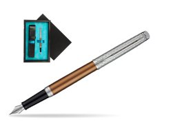 Waterman Hemisphere Privée Bronze Satiné Fountain Pen  single wooden box  Black Single Turquoise