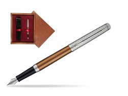 Waterman Hemisphere Privée Bronze Satiné Fountain Pen in single wooden box Mahogany Single Maroon