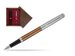 Waterman Hemisphere Privée Bronze Satiné Fountain Pen in single wooden box  Wenge Single Maroon