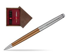 Waterman Hemisphere Privée Bronze Satiné Ballpoint Pen in single wooden box  Wenge Single Maroon