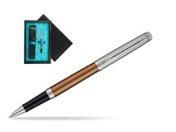 Waterman Hemisphere Privée Bronze Satiné Rollerball Pen  single wooden box  Black Single Turquoise
