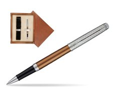 Waterman Hemisphere Privée Bronze Satiné Rollerball Pen in single wooden box  Mahogany Single Ecru