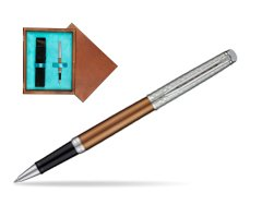 Waterman Hemisphere Privée Bronze Satiné Rollerball Pen in single wooden box  Mahogany Single Turquoise