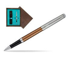 Waterman Hemisphere Privée Bronze Satiné Rollerball Pen in single wooden box  Wenge Single Turquoise