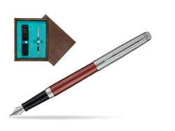 Waterman Hemisphere Privée Rose Cuivré Fountain Pen in single wooden box  Wenge Single Turquoise