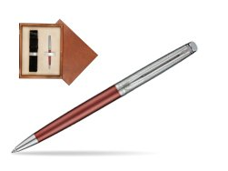 Waterman Hemisphere Privée Rose Cuivré Ballpoint Pen in single wooden box  Mahogany Single Ecru