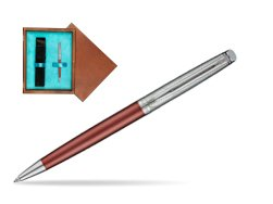 Waterman Hemisphere Privée Rose Cuivré Ballpoint Pen in single wooden box  Mahogany Single Turquoise