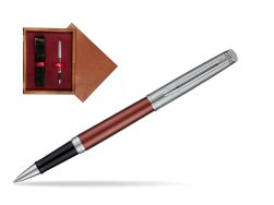 Waterman Hemisphere Privée Rose Cuivré Rollerball Pen in single wooden box Mahogany Single Maroon