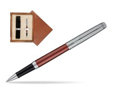 Waterman Hemisphere Privée Rose Cuivré Rollerball Pen in single wooden box  Mahogany Single Ecru