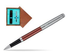 Waterman Hemisphere Privée Rose Cuivré Rollerball Pen in single wooden box  Mahogany Single Turquoise