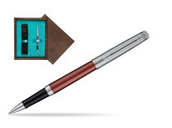 Waterman Hemisphere Privée Rose Cuivré Rollerball Pen in single wooden box  Wenge Single Turquoise