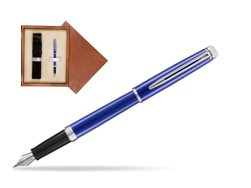 Waterman Hemisphere 2018 Bright Blue CT Fountain Pen in single wooden box  Mahogany Single Ecru