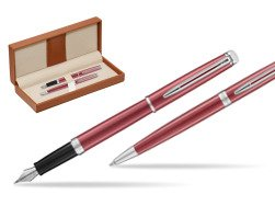 Waterman Fountain Pen + Ballpoint Pen 2018 Coral Pink CT  in classic box brown