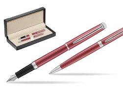 Waterman Fountain Pen + Ballpoint Pen 2018 Coral Pink CT  in classic box  black
