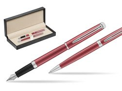 Waterman Fountain Pen + Ballpoint Pen 2018 Coral Pink CT  in classic box  pure black