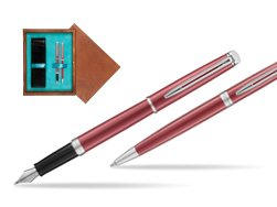 Waterman Fountain Pen + Ballpoint Pen 2018 Coral Pink CT in double wooden box Mahogany Double Turquoise