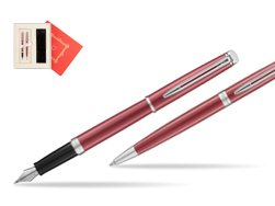 "Waterman Fountain Pen + Ballpoint Pen 2018 Coral Pink CT in Gift Box ""Red Love"""