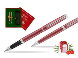 Waterman Fountain Pen + Ballpoint Pen 2018 Coral Pink CT in Christmas Gift Box red