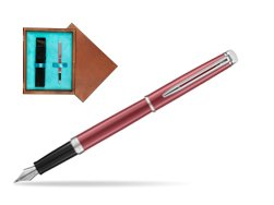 Waterman Hemisphere 2018 Coral Pink CT Fountain Pen in single wooden box  Mahogany Single Turquoise
