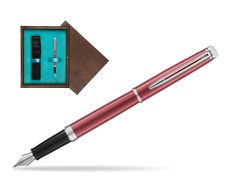 Waterman Hemisphere 2018 Coral Pink CT Fountain Pen in single wooden box  Wenge Single Turquoise