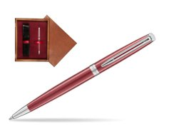 Waterman Hemisphere 2018 Coral Pink CT Ballpoint pen in single wooden box Mahogany Single Maroon