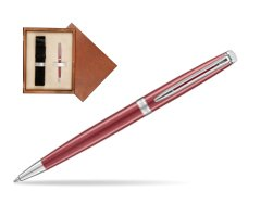 Waterman Hemisphere 2018 Coral Pink CT Ballpoint pen in single wooden box  Mahogany Single Ecru