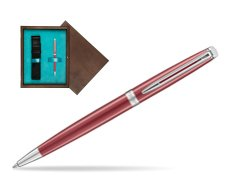Waterman Hemisphere 2018 Coral Pink CT Ballpoint pen in single wooden box  Wenge Single Turquoise