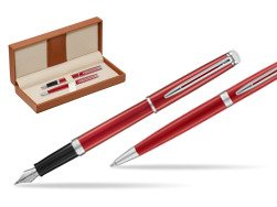 Waterman Fountain Pen + Ballpoint Pen 2018 Comet Red CT  in classic box brown