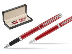 Waterman Fountain Pen + Ballpoint Pen 2018 Comet Red CT  in classic box  black
