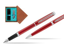 Waterman Fountain Pen + Ballpoint Pen 2018 Comet Red CT in double wooden box Mahogany Double Turquoise