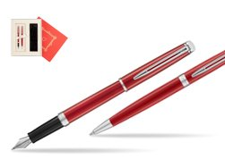 "Waterman Fountain Pen + Ballpoint Pen 2018 Comet Red CT in Gift Box ""Red Love"""