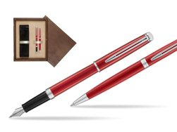Waterman Fountain Pen + Ballpoint Pen 2018 Comet Red CT in double wooden box Wenge Double Ecru