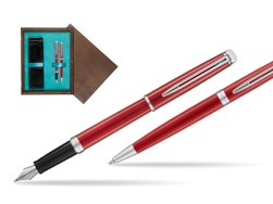 Waterman Fountain Pen + Ballpoint Pen 2018 Comet Red CT in double wooden box Wenge Double Turquoise