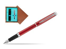 Waterman Hemisphere 2018 Comet Red CT Fountain Pen. in single wooden box  Mahogany Single Turquoise