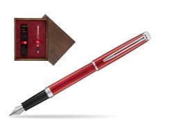 Waterman Hemisphere 2018 Comet Red CT Fountain Pen. in single wooden box  Wenge Single Maroon