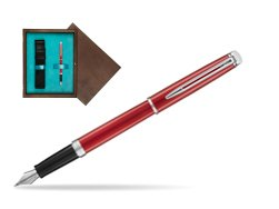 Waterman Hemisphere 2018 Comet Red CT Fountain Pen. in single wooden box  Wenge Single Turquoise